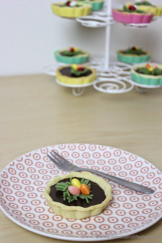 Schokoladen Tartelettes mit Osternest beim Osterfrühstück bei Sweets and Lifestyle