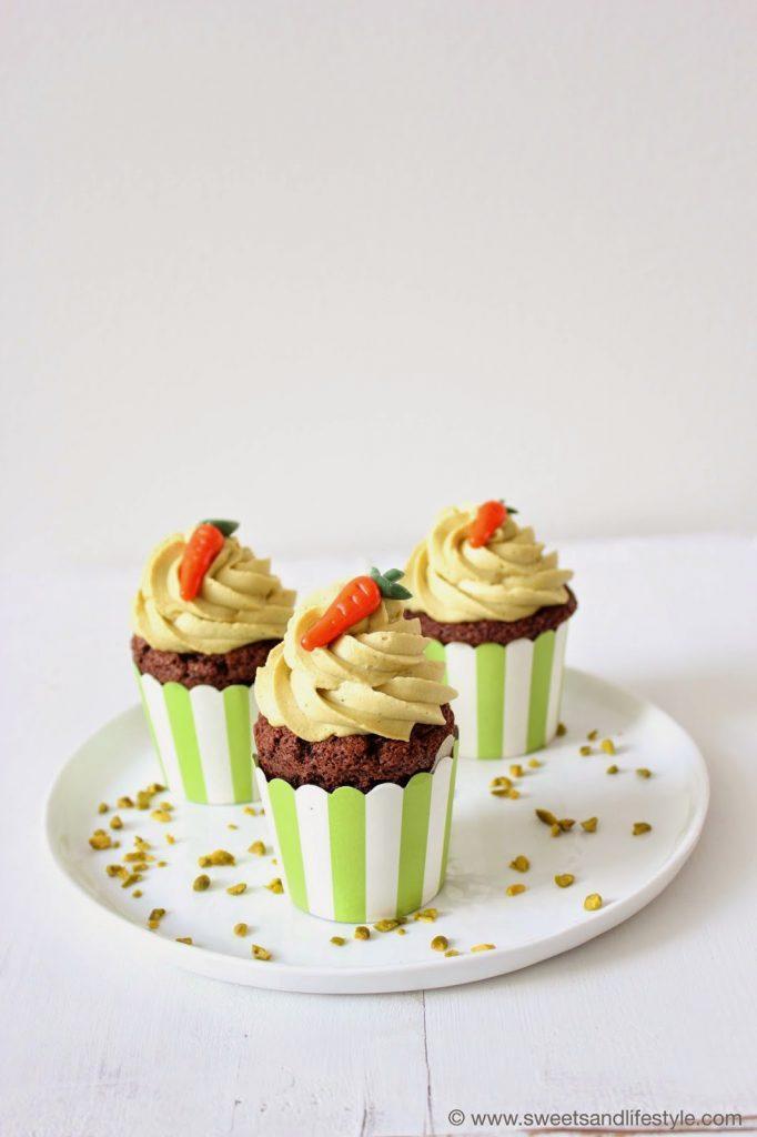 Österliche Pistaziencupcakes mit Glinitzer's Wiener Salon Nougat bei Sweets and Lifestyle