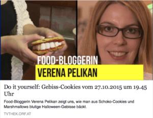 Verena Pelikan von Sweets and Lifestyle zeigt die Herstellung ihrer Gebiss Cookies dem ORF Team