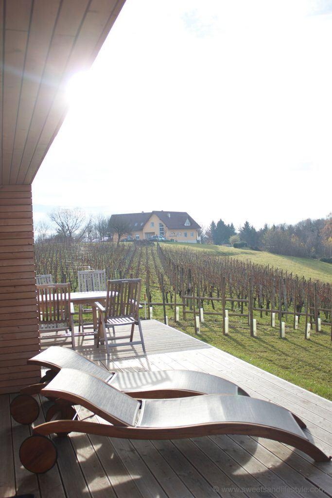 Ausblick von der Terrasse des Weihauses 01 vom Weingarten-Resort Unterlamm-Loipersdorf