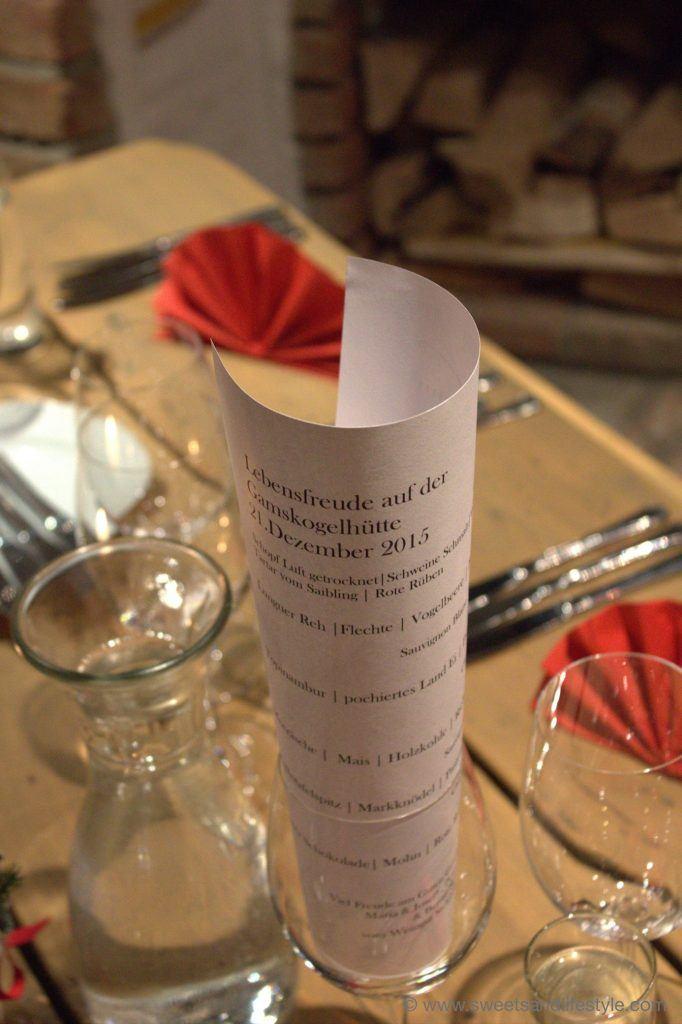 Die Menükarte für das Menü beim Gourmetabend am Katschberg von Sweets and Lifestyle
