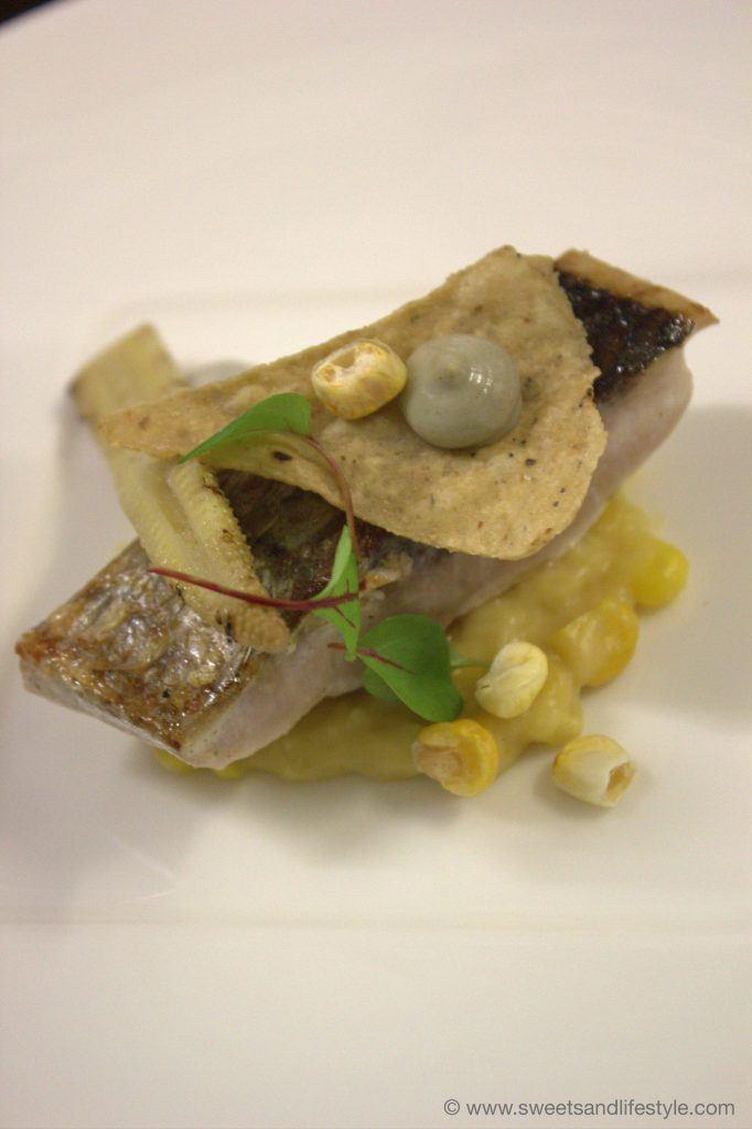 Meeräsche, Mais, Holzkohle und Riebel beim Gourmetabend auf der Gamskogelhütte am Katschberg von Sweets and Lifestyle