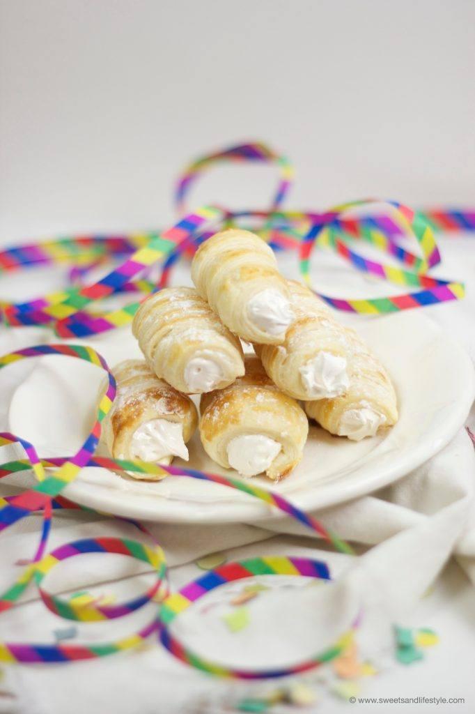Schaumrollen mit Meringue gefüllt für den Fasching von Sweets and Lifestyle