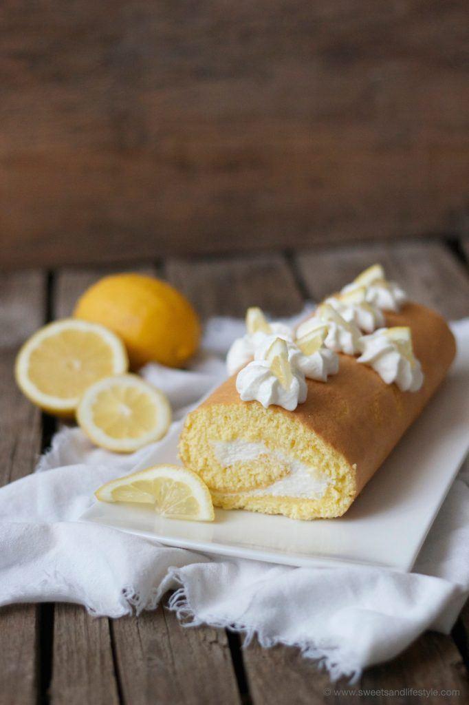 Erfrischende Zitronen Biskuitroulade von Sweets and Lifestyle