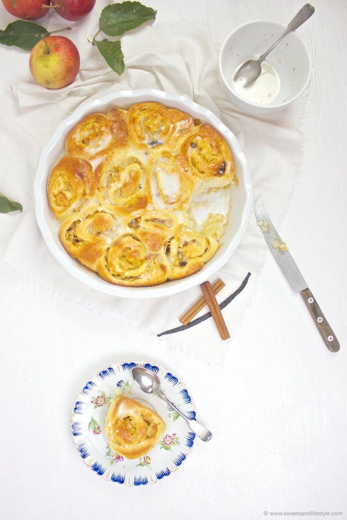 Leckere Apfel Zimt Schnecken mit Zuckerguss glasiert von Sweets and Lifestyle