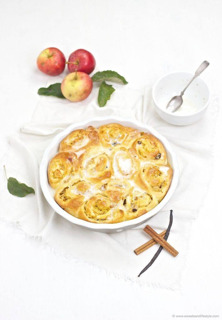 Leckere, wunderbar fluffige Apfel Zimt Schnecken mit Zuckerguss, passen perfekt zum Herbst, von Sweets and Lifestyle