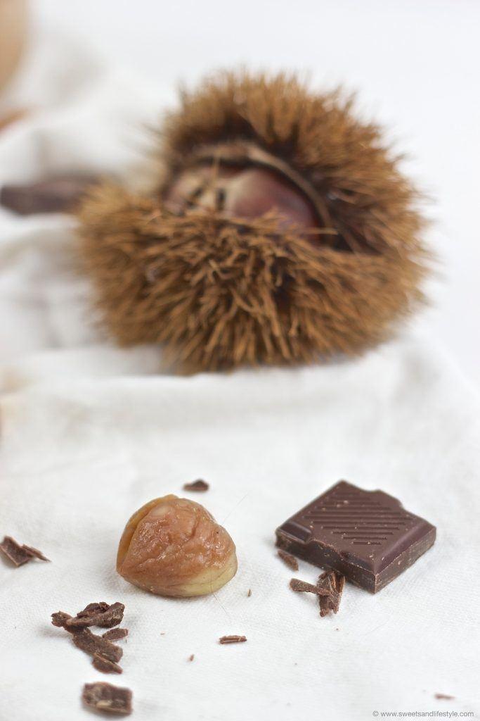 Dunkle Schokolade und Maroni, die Hauptzutaten für das Schoko Maroni Mousse von Sweets and Lifestyle