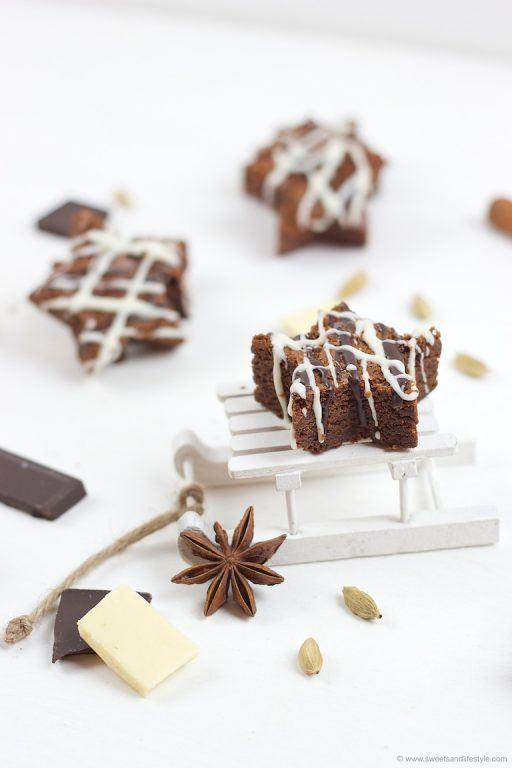 Saftige weihnachtliche Schoko Brownie Sterne nach einem Rezept von Sweets and Lifestyle