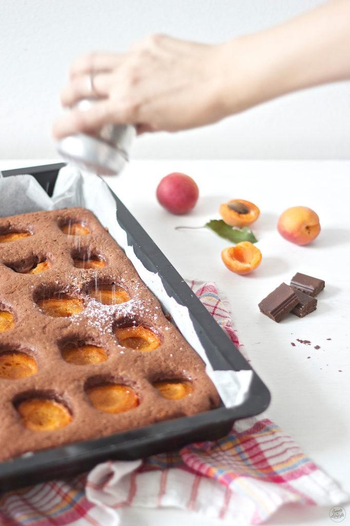Koestlicher Schoko Marillen Kuchen mit Staubzucker bestreut von Sweets and Lifestyle