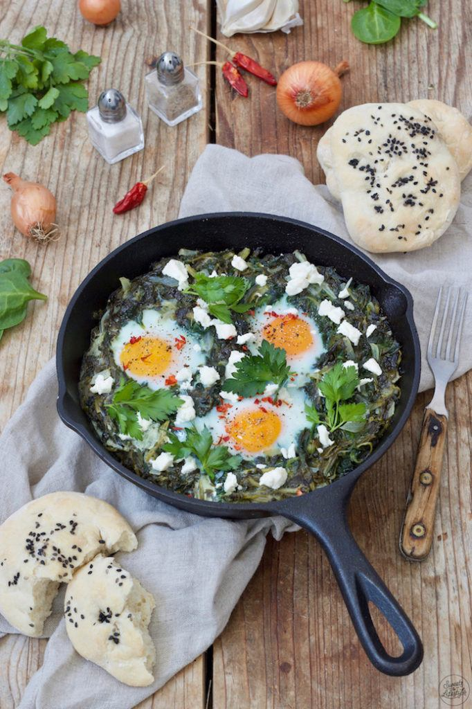 Grüne Shakshuka mit Spinat nach einem Rezept von Sweets & Lifestyle®