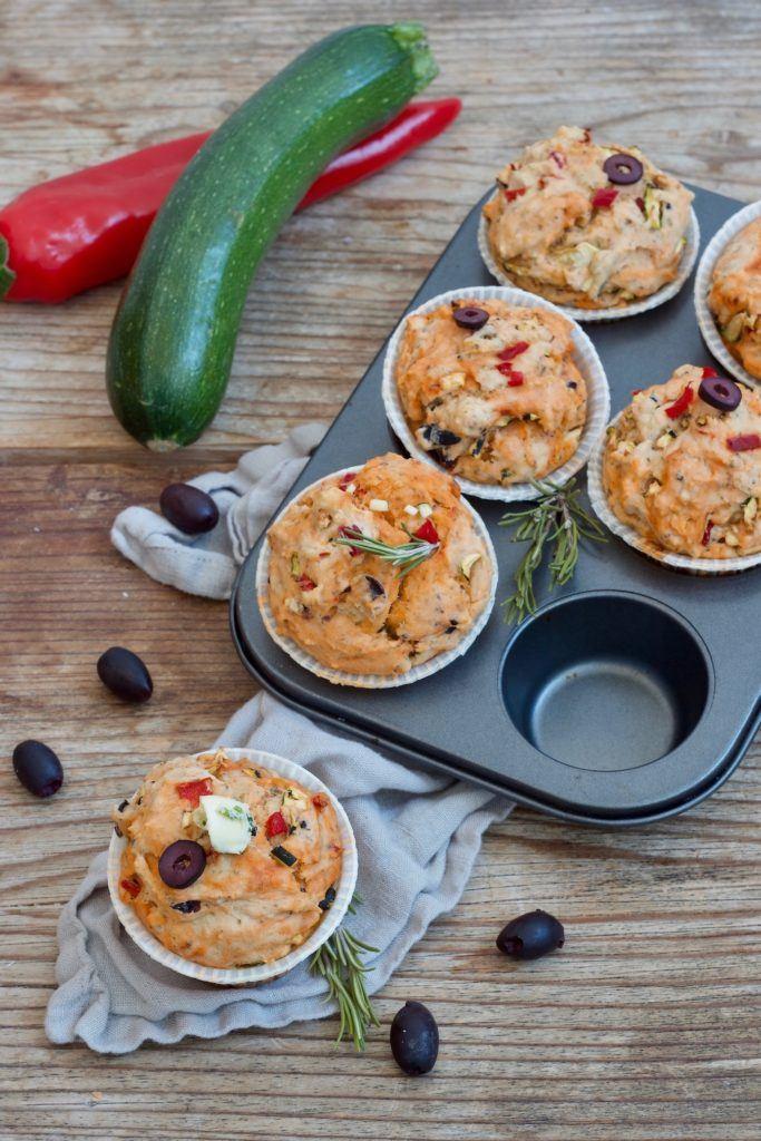 Leckere mediterrane Muffins, auch Pizzamuffins genannt, nach einem Rezept von Sweets & Lifestyle®