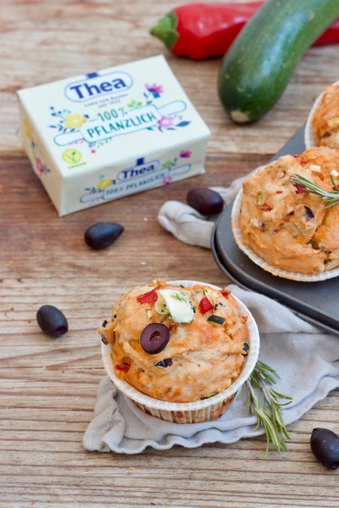 Vegane mediterrena Muffins als Fingerfood gemacht mit der Thea 100% Pflanzlich nach einem Rezept von Sweets & Lifestyle®