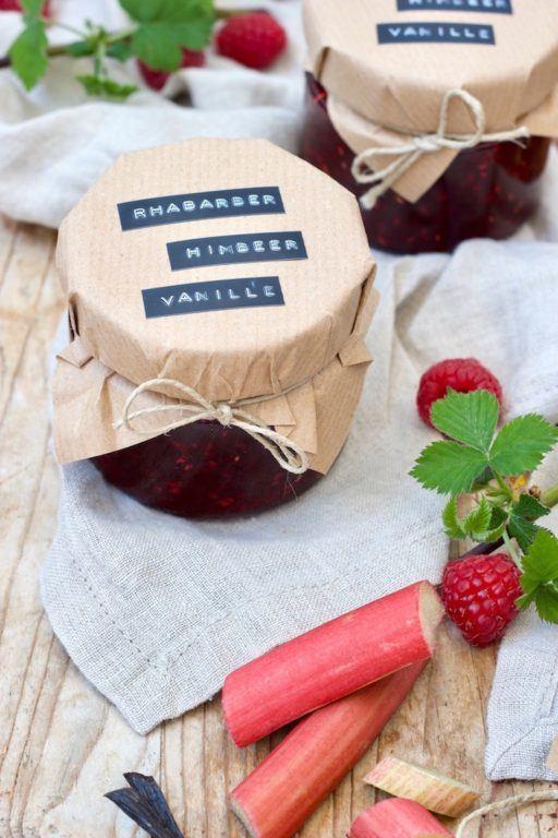 Rhabarber-Himbeer-Marmelade mit Vanille Rezept