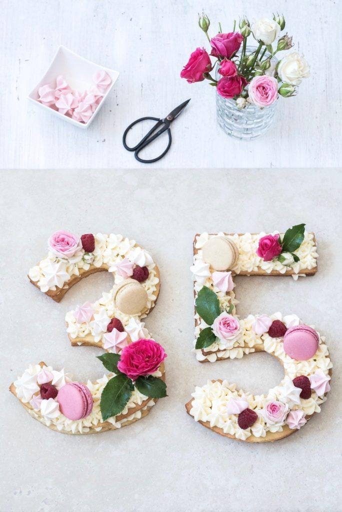 Wunderschön verzierte Number Cake zum Geburtstag nach einem Rezept von Sweets & Lifestyle®
