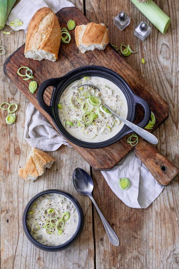 Würzige Käse-Lauch-Suppe mit Faschiertem als Partysuppe nach einem Rezept von Sweets & Lifestyle®