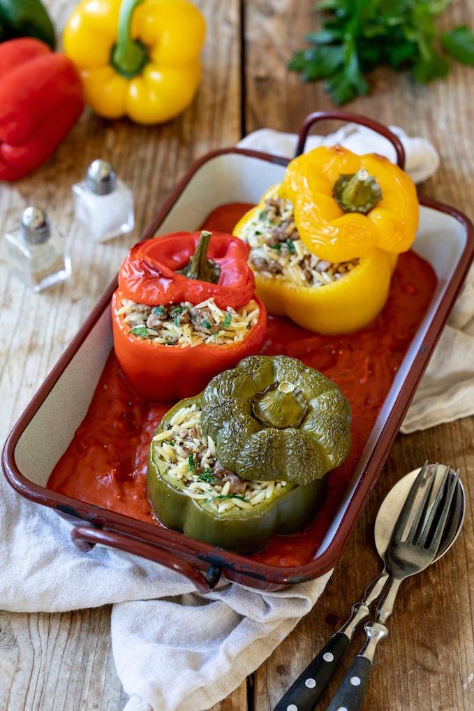 Gefuellte Paprika mit Faschiertem und Nudelreis nach einem Rezept von Sweets & Lifestyle®
