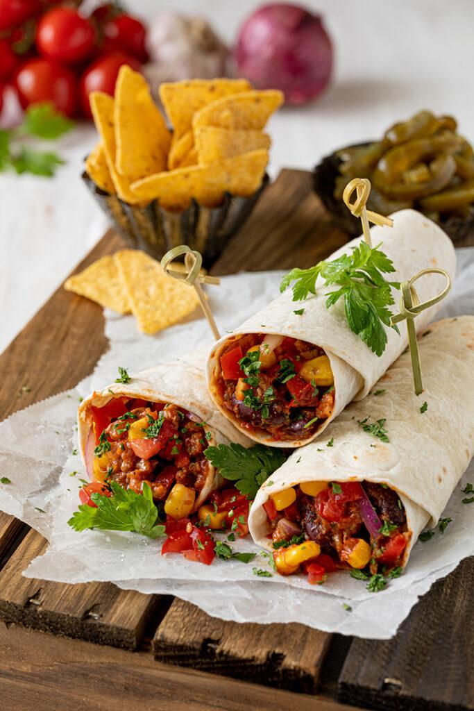 Mexikanische Wraps gefuellt mit Faschiertem und Gemuese nach einem Rezept von Sweets & Lifestyle®